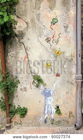 Graffities On The Vintage Wall In Old Town Of Nice, France.