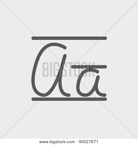 Cursive letter a icon thin line for web and mobile, modern minimalistic flat design. Vector dark grey icon on light grey background.