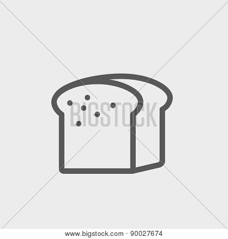 Small size loaf of bread icon thin line for web and mobile, modern minimalistic flat design. Vector dark grey icon on light grey background.