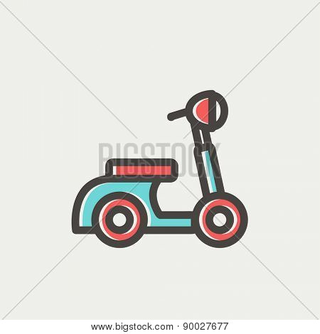 Scooter icon thin line for web and mobile, modern minimalistic flat design. Vector icon with dark grey outline and offset colour on light grey background.
