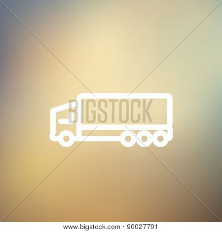 Trailer truck icon thin line for web and mobile, modern minimalistic flat design. Vector white icon on gradient mesh background.