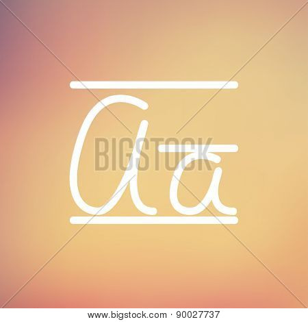 Cursive letter a icon thin line for web and mobile, modern minimalistic flat design. Vector white icon on gradient mesh background.