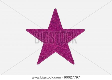 Purple / Pink Christmas Star Decoration, Isolated On White Background.