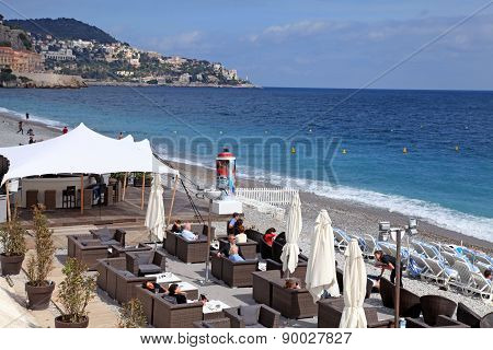 Outdoor Cafe On The Beach Of Nice, France.