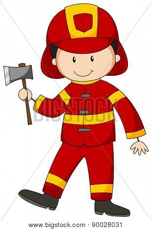 Close up happy fireman holding an axe