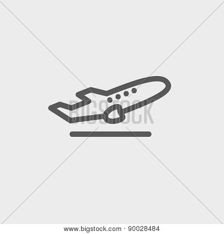 Airplane takeoff icon thin line for web and mobile, modern minimalistic flat design. Vector dark grey icon on light grey background.