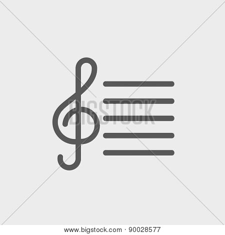 Musical note icon thin line for web and mobile, modern minimalistic flat design. Vector dark grey icon on light grey background.
