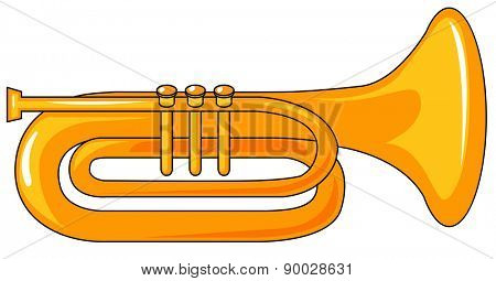 Closeup one plain golden trumpet