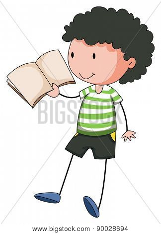 Close up boy reading a book