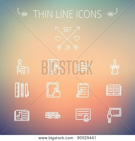 Education thin line icon set for web and mobile. Set includes- graduation cap, notepad with pen, certificate, bell, book, music book,teacher, blackboard, school supplies icons. Modern minimalistic
