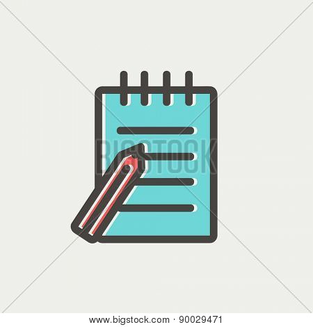 Writing pad and pen icon thin line for web and mobile, modern minimalistic flat design. Vector icon with dark grey outline and offset colour on light grey background.