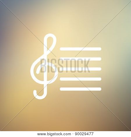Musical note icon thin line for web and mobile, modern minimalistic flat design. Vector white icon on gradient mesh background.