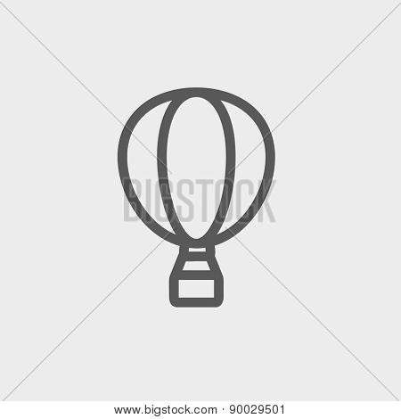 Hot air balloon icon thin line for web and mobile, modern minimalistic flat design. Vector dark grey icon on light grey background.