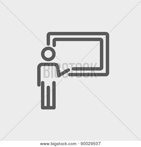 Professor in front of a blackboard icon thin line for web and mobile, modern minimalistic flat design. Vector dark grey icon on light grey background.