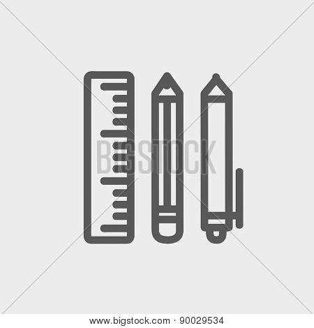 School supplies icon thin line for web and mobile, modern minimalistic flat design. Vector dark grey icon on light grey background.