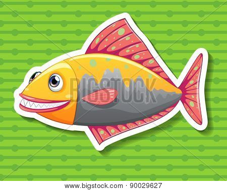 Close up happy fish with green background