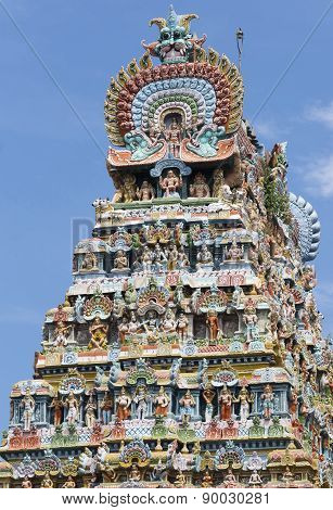 Side View Of Gopuram At Mahalingeswarar Temple, Dhaksinamurthy.