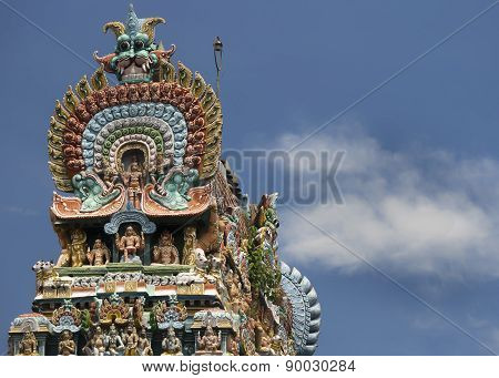 Cobra Top Of Gopuram At Mahalingeswarar Temple.