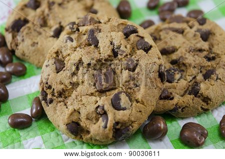 Chocolate Chip Cookies On A Tablecloth