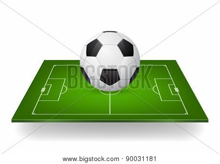 Soccer Ball On Field, Vector Icon
