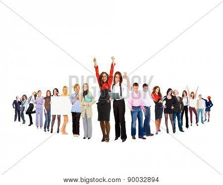 Corporate Teamwork Team over White