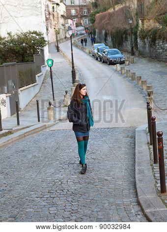 Beautiful Girl On The Montmartre, In Paris France
