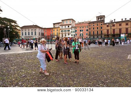 Visitors, Spectators Are Waiting Outside The Arena Di Verona For Entrance In The Opera