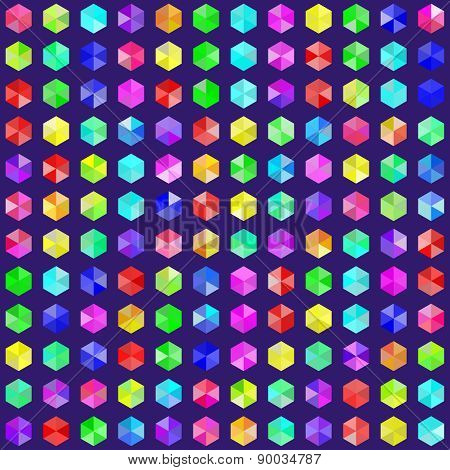Hexagonal Gems In Random Rainbow Colors. Eps8 Vector