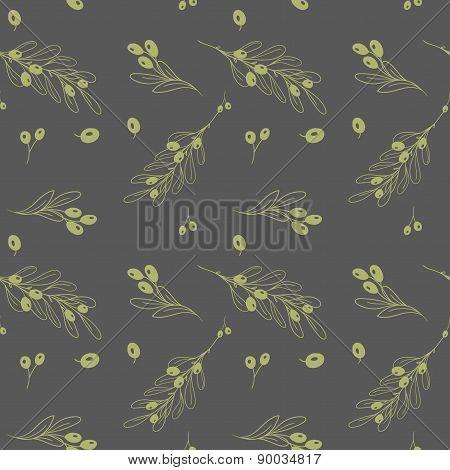 Olive Dark Seamless Vector Pattern