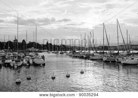 GENEVA - SEP 15: yachts on the lake in center of Geneva on September 15, 2014 in Geneva, Switzerland. Geneva is the second most populous city in Switzerland and is the most populous city of Romandy