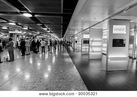 GENEVA - SEP 15: Airport interior on September 15, 2014 in Geneva, Switzerland. Geneva International Airport is the international airport of Geneva, Switzerland.