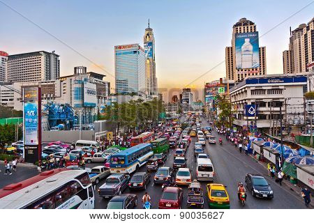 Main Road In Bangkok In Afternoon Traffic Jam Near The Central Shopping Center