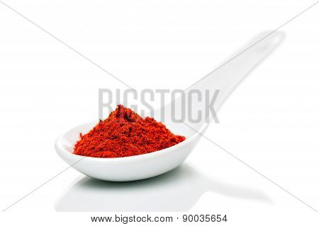 Paprika (capsicum) Powder On Porcelain Spoons