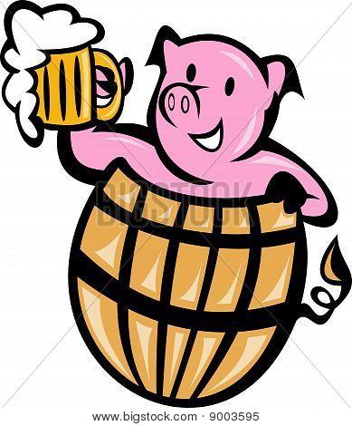 pig pork in barrel with beer mug