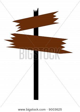 Brown Wooden Sign Art Illustration