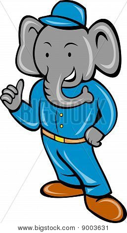 Cartoon elephant busboy bellboy posing