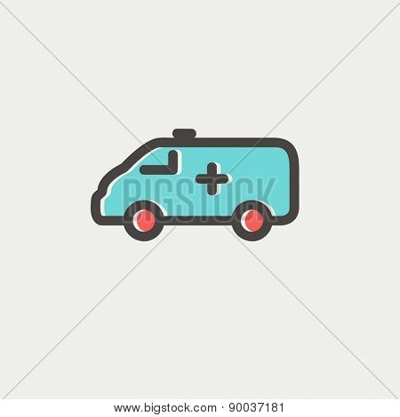 Ambulance car icon thin line for web and mobile, modern minimalistic flat design. Vector icon with dark grey outline and offset colour on light grey background.