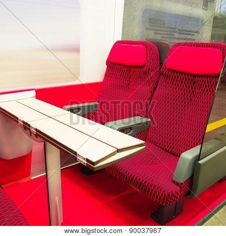 Red Seats Of A Railroad Car