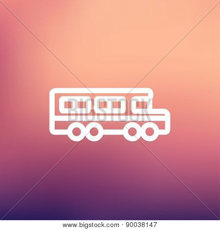 School bus icon thin line for web and mobile, modern minimalistic flat design. Vector white icon on gradient mesh background.