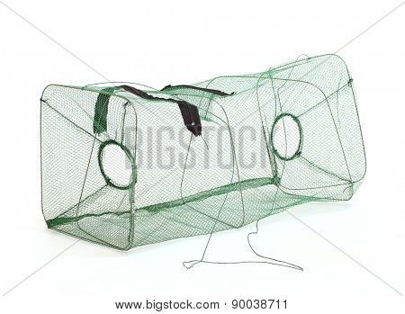 Fishing net. Fish basket for lobster, crayfish and crabs catching isolated on a white background.