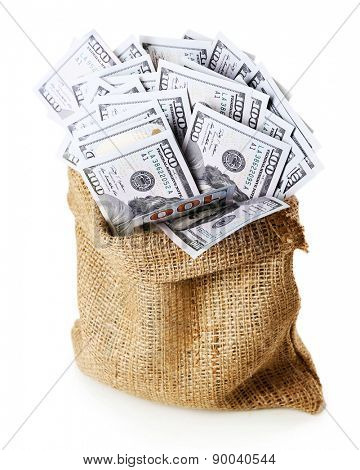 Money in bag isolated on white