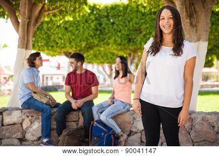 Happy Girl At A University