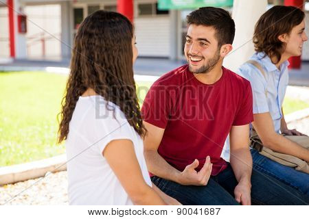 Hispanic Students Talking At School