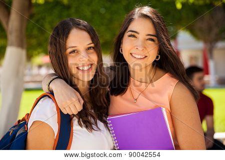 Beautiful Female Friends At School
