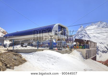 Dombay. Station Of Aerial Lift