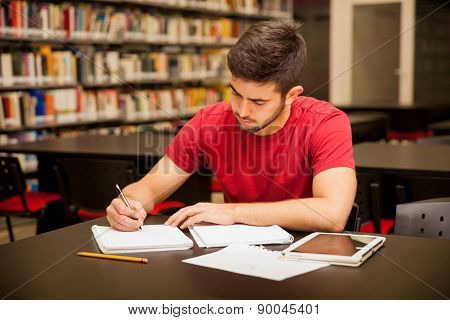 Man Busy With School Work