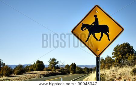Horse and Rider Road Crossing Sign