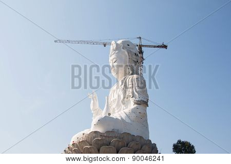 hand of Guan Yin statue under construction, Wat huay pla kang