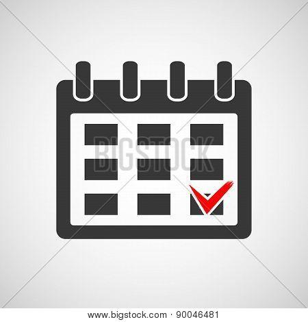 Icon Calendar With A Check Mark.