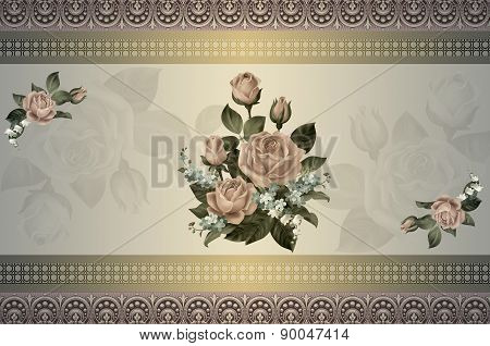 Decorative Background With Roses.